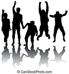 silhouette, saltare, persone