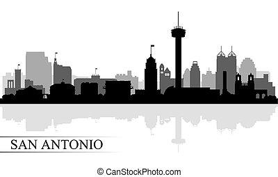 silhouette, san, fondo, skyline città, antonio