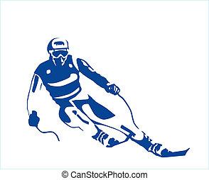silhouette, sciatore