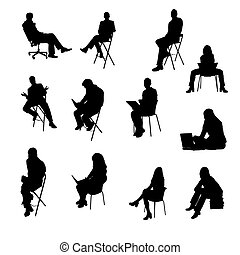 silhouette, seduta, persone affari
