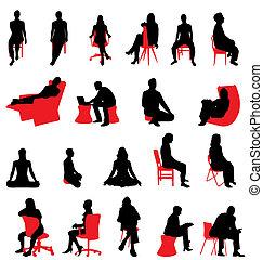silhouette, seduta, persone