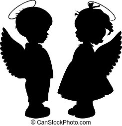 silhouette, set, angelo