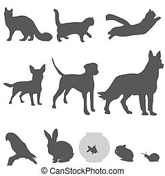 silhouette, set, animali domestici
