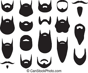 silhouette, set, barba