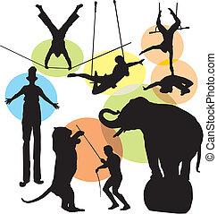 silhouette, set, circo