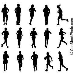 silhouette, set, correndo, camminare