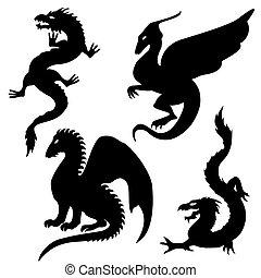 silhouette, set, drago
