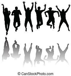 silhouette, set, giovane, saltare, persone