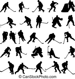 silhouette, set, hockey