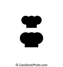 silhouette, set., isolato, chef, cappello nero, cook.