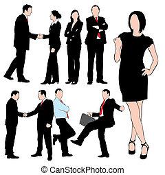silhouette, set, persone affari