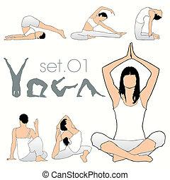 silhouette, set, yoga