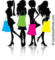silhouette, shopping, ragazze