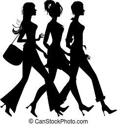 silhouette, shopping, tre ragazze