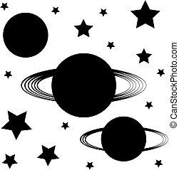 silhouette, simbolo, isolato, background-, pianeti, bianco