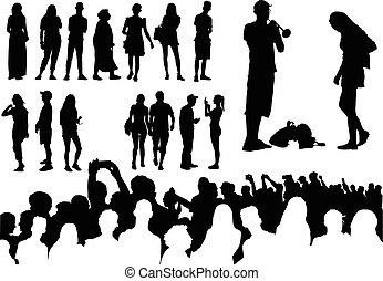 silhouette, sopra, cinquanta