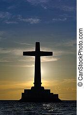 silhouette, sopra, tramonto, croce