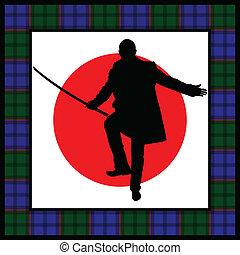 silhouette, spada, uomo