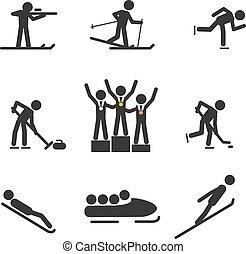silhouette, sport, inverno, collezione