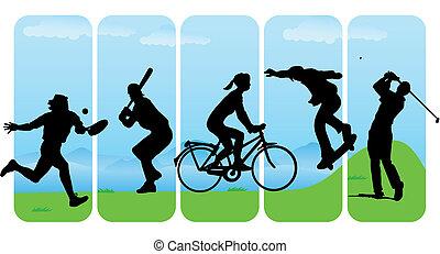 silhouette, sport, ozio