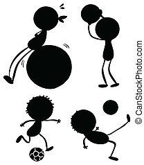 silhouette, sportivo, persone