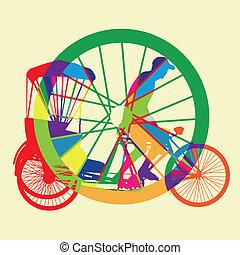 silhouette, tassì, ve, colorito, bicicletta