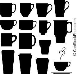silhouette, tazza tè, caffè