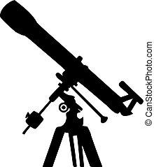 silhouette, telescopio