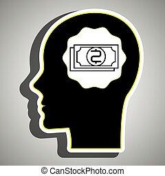 silhouette, testa, effetti, dollaro