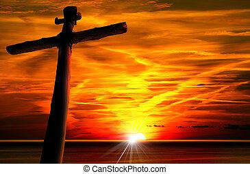 silhouette, tramonto, croce