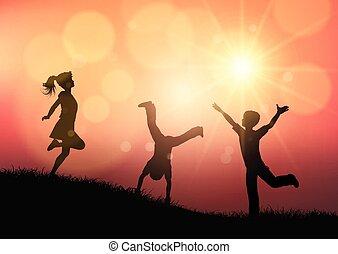 silhouette, tramonto, gioco, paesaggio, bambini