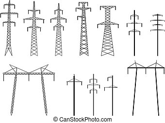 silhouette, trasmissione, piloni