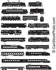 silhouette, treno, lato