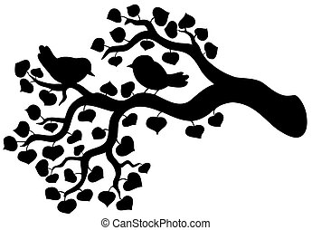 silhouette, uccelli, ramo