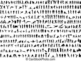 silhouette, umano, centinaia