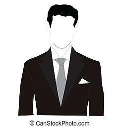 silhouette, uomini, abito nero
