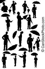 silhouette, uomini, completo