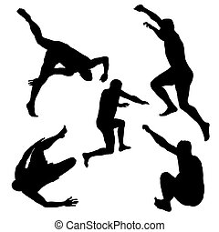 silhouette, uomini, saltare