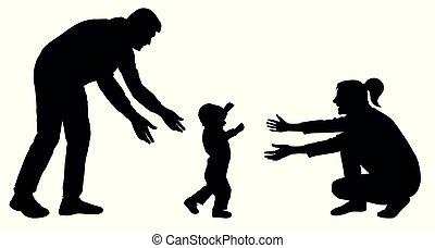silhouette, va, famiglia, passi, mamma, bambino, primo, evento, vector.
