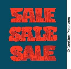 silhouette, vendita, persone