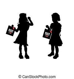 silhouette, venerdì, illustrazione, borsa, carta, nero, bambini