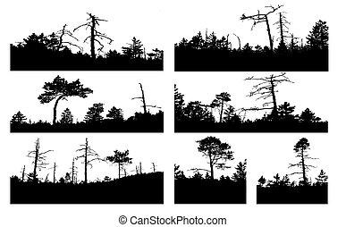 silhouette, vettore, albero, sfondo bianco