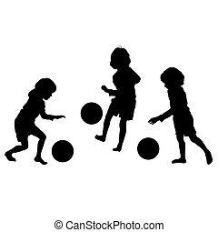 silhouette, vettore, calcio, bambini