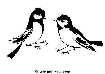 silhouette, vettore, fondo, piccolo, uccello bianco