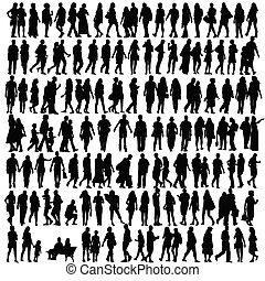 silhouette, vettore, nero, persone