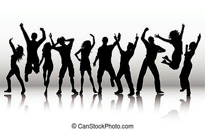 silhouette, vettore, persone, ballo, ballo