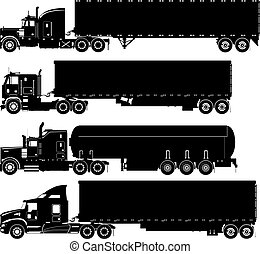 silhouette, vettore, set, camion