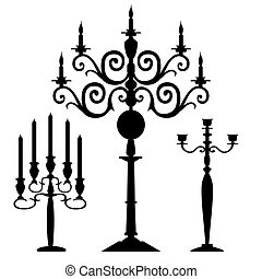 silhouette, vettore, set, candelabri
