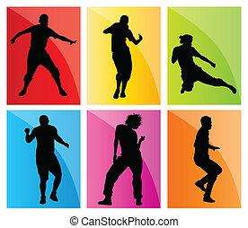 silhouette, vettore, set, fondo, ballo
