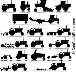 silhouette, vettore, trattore